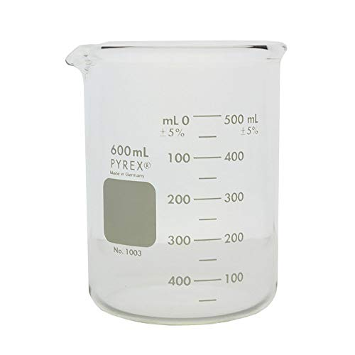 PYREX Heavy Duty Griffin 1003 600mL Beaker Double Scale Graduated; Each