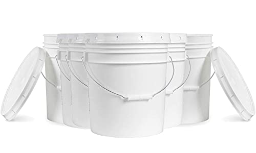 5 Gallon White Bucket & Lid - Durable 90 Mil All Purpose Pail - Food Grade - BPA Free Plasti (5 Gal. w/Lids - 6pk)