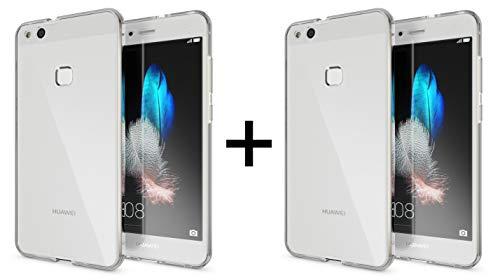 TBOC 2X Funda para Huawei P10 Lite [5.2'] - [Pack: Dos Unidades] Carcasa [Transparente] Completa [Silicona TPU] Doble Cara [360 Grados] Protección Integral Total Delantera Trasera Lateral Móvil