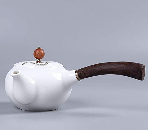 Tetera de cerámica de estilo japonés Tetera de porcelana blanca con incrustaciones de tetera de cerámica plateada Tetera de cerámica plateada con mango lateral Filtro de olla Juego de té de
