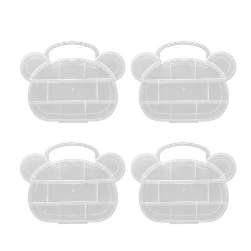 4 unidades de 11 rejillas organizador de cajas de joyería de dibujos animados oso de plástico transparente para pendientes