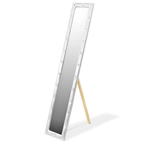 VidaXL Espejo Pie Cuero Artificial Plata 30x150 Decoración