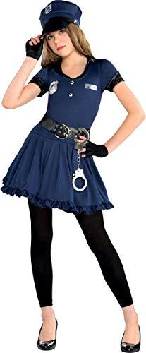 Amscan 999702 - Kinderkostüm Polizistin, Kleid, Mütze, Gürtel, Handschuhe, Handschellen, Leggings, Uniform, Cop