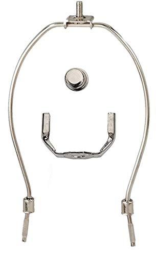 Creative Hobbies 8 Inch Regular Weight Lamp Harp, Finial and Harp Base Set, Polished Nickel Finish