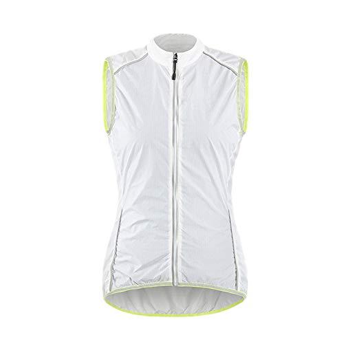 Gilet de vélo ultra-léger réfléchissant pour femme coupe-vent avec poche arrière zippée - Blanc - XL
