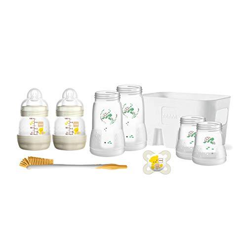 MAM Easy Start Babyflaschen Set für Neugeborene, Baby Erstausstattung mit Schnuller, Bürste, Korb & Flaschen (130/160/260 ml), Baby Geschenk Set ab Geburt, Tiermotive, beige