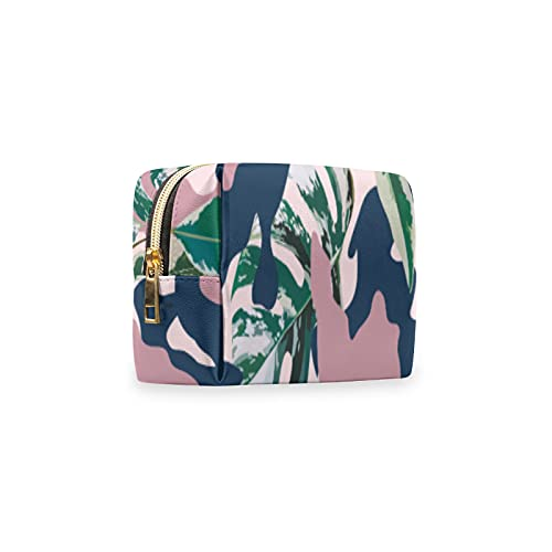 Bolsa de maquillaje portátil, diseño militar de camuflaje tropical Leaaves de piel sintética para bolso, bolsa de aseo impermeable, organizador de accesorios para mujeres y niñas de viaje