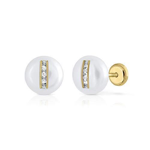 Pendientes oro 18k, bebe niña o mujer, modelo perla tipo botón natural con circones engastadas en oro y cierre de seguridad. o presión. (ROSCA)