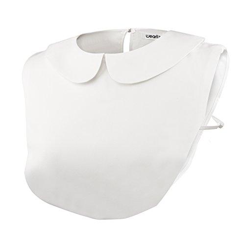 Wearlizer Frauen Kragen Puppe Chiffon Abnehmbare Hälfte Shirt Bluse in Baumwolle - Weiß