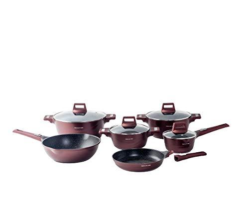 Mixler Cook - Batería de cocina (10 piezas, aluminio fundido a presión, cristal), color burdeos
