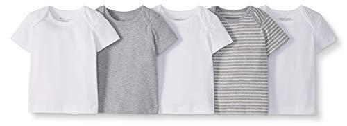 Moon and Back de Hanna Andersson - Pack de 5 camisetas de cuello redondo americano hechas de algodón orgánico para bebé, Gris, 12-18 messes (72-77 CM)