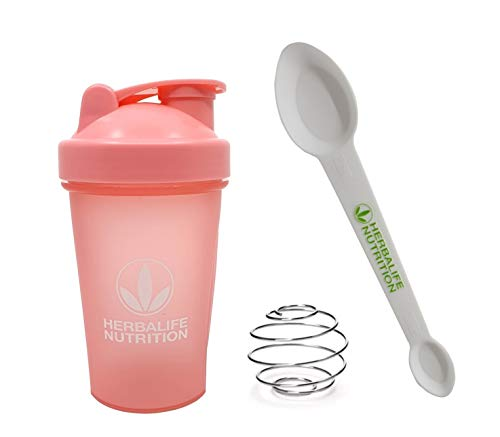 Herbalife Shaker Bottle 13.5-Ounce(400ml) Pink and Herbalife Spoon 1 pack