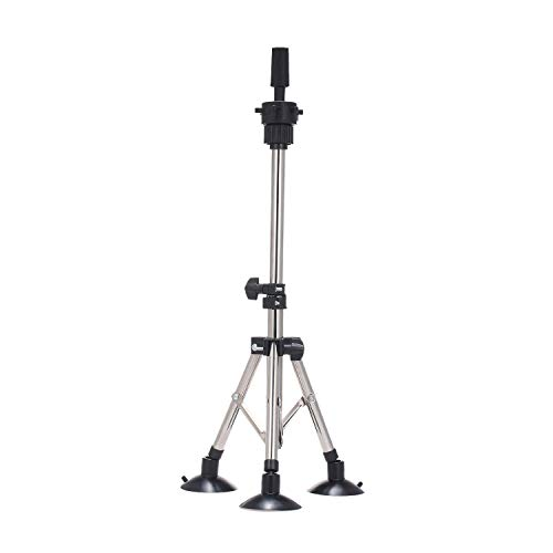Wig Stand Tripod, Anself Adjustable Metal Mannequin Head Stand with Suction Cups Manikin Head Tripod Stand for Cosmetology Hairdressing Training (Silver)