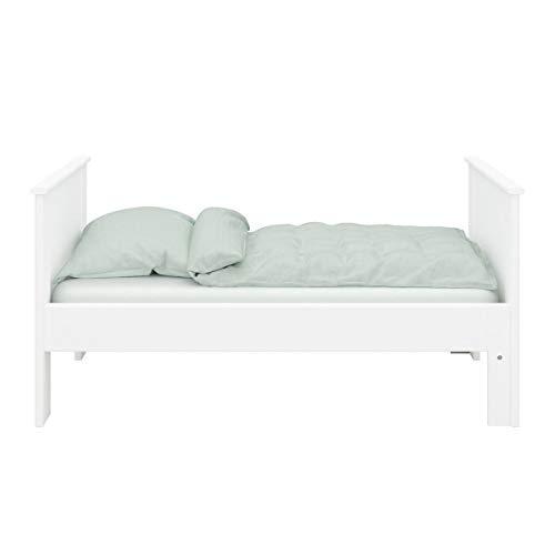 Steens ALBA Kinderbett, Einzelbett mit Ausziehfunktion, Ausziehbett, MDF, 75 x 140/180/200 cm Liegefläche, inkl. Lattenrost, weiß