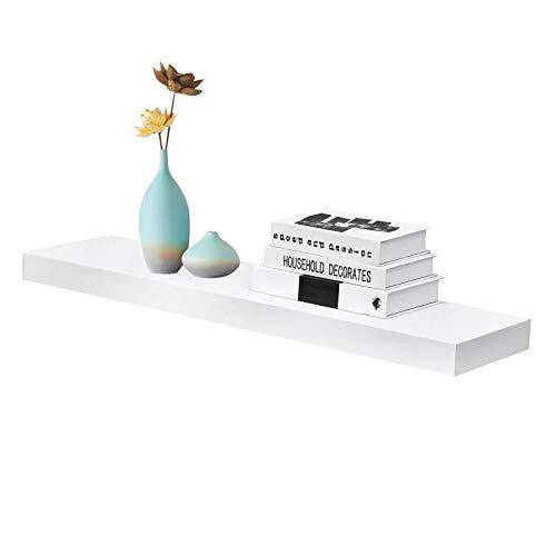 WELLAND 36 inch White Mission Floating Shelves for Wall, Bathroom Wall Mount Shelves, Wood Modern Display Shelves, Book Shelves,for Bedroom,Living Room and Kitchen