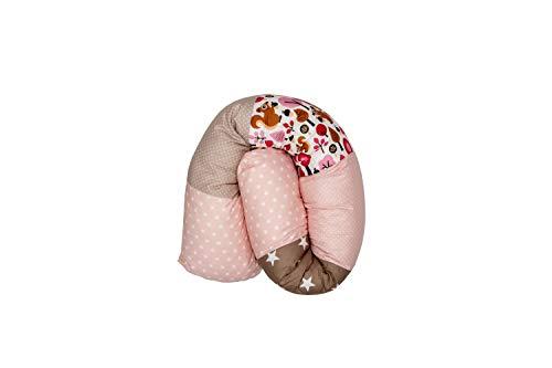 Cojín protector para cuna de ULLENBOOM ® cojín chichonera en forma de serpiente beige ardilla (ideal para proteger al bebé de los barrotes de la cuna o como cojín de apoyo)