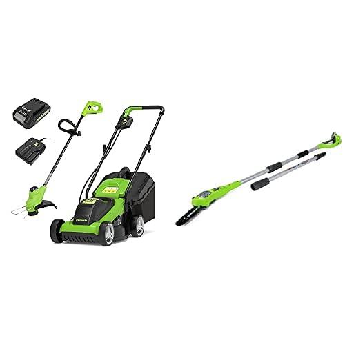 Greenworks Tools 2512907BAUK Cortacésped + Podador de Pértiga de Batería G24PS20, Li-Ion 24V 20 cm Longitud Espada 6.7m/s Velocidad de Cadena, 280 cm Barra Aluminio, 3 Piezas