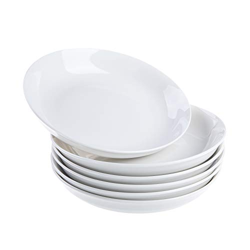 Cutiset 8 Inch Porcelain Salad/Pasta/Fruit Plates, Set of 6, White, Shallow & Wide (8-inch, Round)