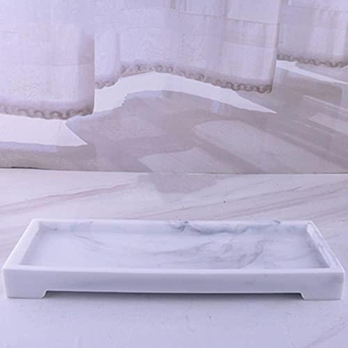 Juego de accesorios de baño de resina de lujo, 5 piezas, juego de 5 piezas de color blanco nórdico textura resina baño dispensador jabón bandeja almacenamiento bandeja
