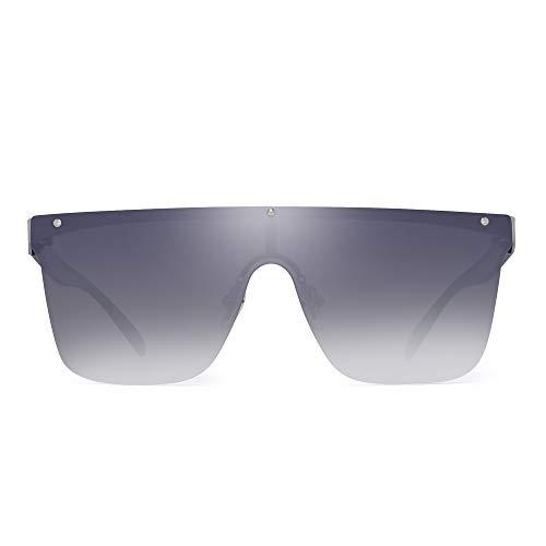 JIM HALO Randlos Schild Sonnenbrillen Ein Stück Flach Top Spiegeln Brillen Damen Herren(Silberrahmen/Spiegeln Silber Gradient Linse)