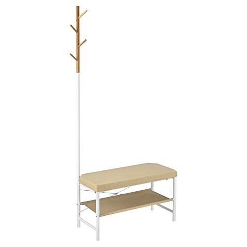 [en.casa] Schoenenrek met zitkussen en kapstok 72x32x167 cm metaal en stof wit en beige
