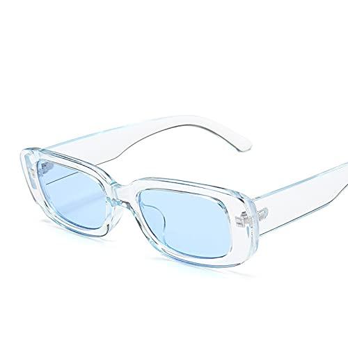 Moda Gafas De Sol Cuadradas Marca De Lujo Viajes Gafas De Sol Rectangulares Pequeñas Hombres Mujeres Vintage Retro 09Trans-Blue