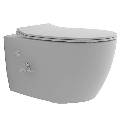 Alpenberger Hänge-WC spülrandlos aus Keramik mit Antibakterieller Beschichtung | Rimless Toilette Slim WC-Sitz | Italienisches Design Nanobeschichtung