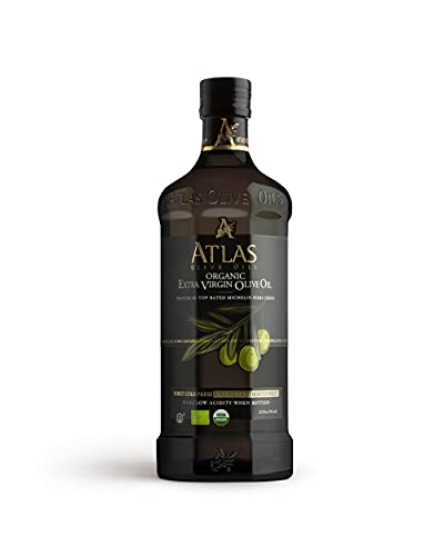 hb oils center olive oils Atlas 750 mL Organic Cold Press Extra Virgin Olive Oil with Polyphenol Rich from Morocco   Newly Harvested Unprocessed from One Single Family Farm   Moroccan EVOO Trusted by Top Rated Michelin Star Chefs