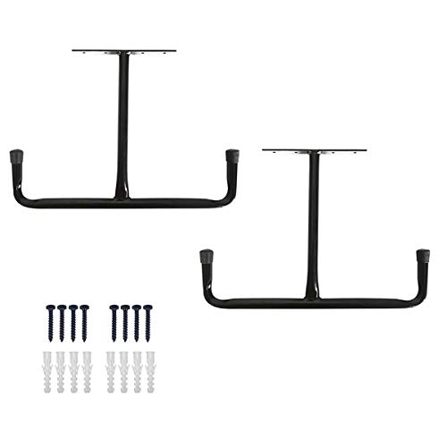 Overhead Garage Storage Rack - Heavy Duty Double Ceiling Hooks Utility Mounted Hangers 16.5' Arm Length 2 Pack, Black