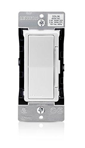 Leviton DDL06-1LZ Decora Digital Dimmer, 300-Watt LED & CFL/600-Watt Incandescent & Halogen, White/Ivory/Light Almond