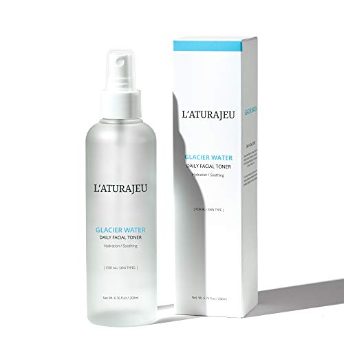 L'ATURAJEU 10 Free Korean Facial Toner Spray with Glacier Water (No Scent), for All Skin Types (6.76 fl.oz) (Korea Made)