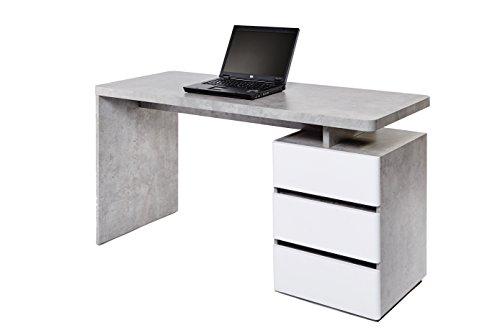 Marchio Amazon -Movian Skadar - Scrivania con 3 cassetti, 140 x 55 x 76 cm, colore bianco opaco/cemento