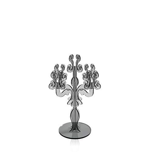 iPLEX - Candelabro Linea Vittoriale Design Rinascimentale con 5 Braccia in plexiglass fumè Trasparente Dim. 32,9x24,7x24,7 cm -