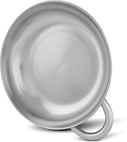 normani Outdoor Edelstahl-Schale mit Griff - rostfrei, lebensmittelecht, geschmacksneutral, umweltfreundlich - Fassungsvermögen 1,7 L - 23 x 5 cm
