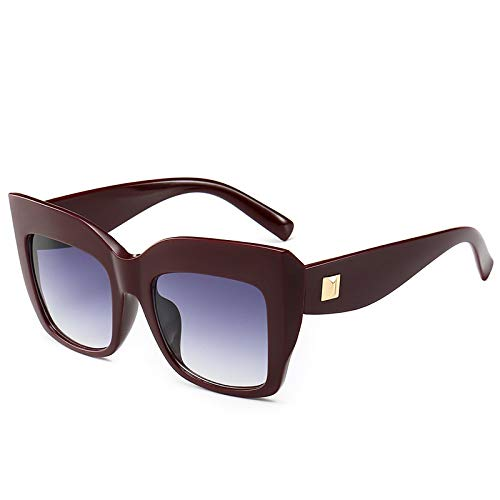 ShZyywrl Gafas De Sol Gafas De Sol De Ojo De Gato De Gran Tamaño para Mujer, Gafas De Sol Cuadradas Vintage con Espejo, Moda Retro, Rojo, Doble Gris