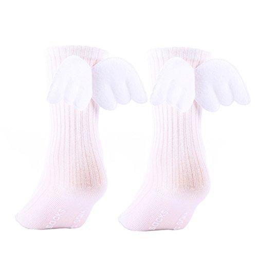AAA226 Kleinkind Baby Mädchen Rüschen Weiche Knie Hohe Bein Wärmer Engel Flügel Socken - S (Weiß)