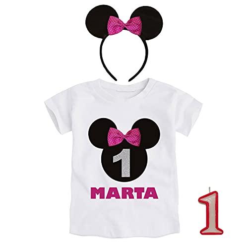 Kembilove Conjunto Cumpleaños Personalizado de 3 piezas para Bebé de 1 año – Con Camiseta, Diadema y Vela – Disfraz para sesiones de fotos de Cumpleaños – Diseño Minnie 9 -12 Meses