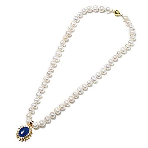 Collana di perle naturali d'acqua dolce da 8-9 mm Con delicate perle ellittiche e un ciondolo ellittico blu zaffiro 19*23*10 mm