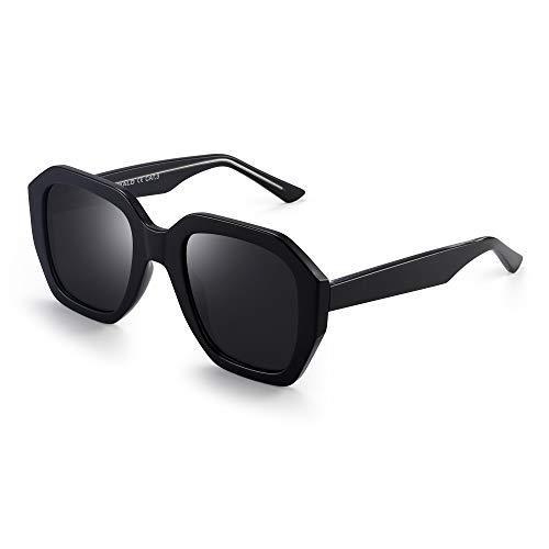 JIM HALO Oversized Polarizadas Gafas de Sol Para Mujer Vintage Cuadradas Sombras UV400(Marco Negro/Lente Gris Polarizado)