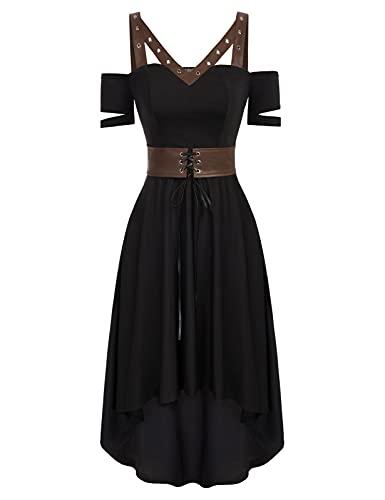 SCARLET DARKNESS Vestido de cóctel para mujer, vintage, manga corta, con cinturón de piel sintética, estilo gótico, steampunk, marrón, S
