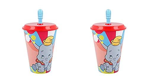 3574; lote de 2 vasos caña Dumbo; productos reutilizables; No BPA; capacidad 430 ml