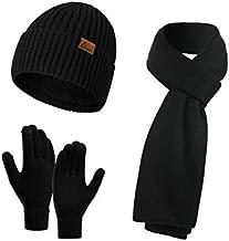 Honnesserry Men's Winter Beanie Hat Neck Warmer Scarf and Touchscreen Gloves Set 3 PCS Knitted Cap Set for Men & Women