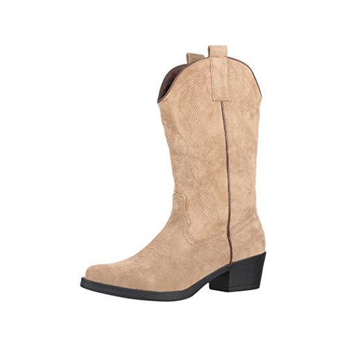 Elara Damen Cowboy Stiefel Biker Boots Chunkyrayan 301-A32S Khaki-39