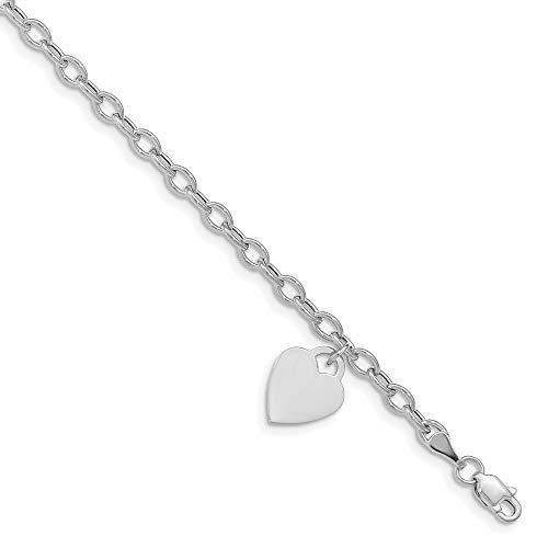 Diamond2Deal - Pulsera de langosta de oro blanco de 14 quilates para mujer