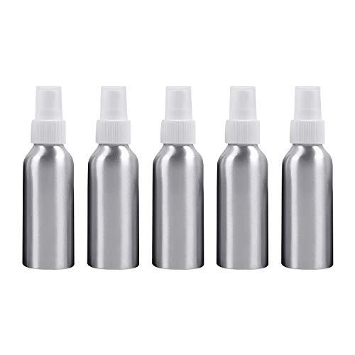 Beauté et soins personnels 5 bouteilles en verre rechargeables de brume fine d'atomiseurs de PCS bouteille en aluminium, 100ml Bouteille de cosmétiques (Couleur : Blanc)