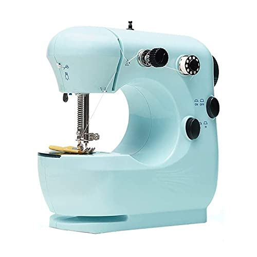Máquina de Coser portátil para Principiantes Mini Máquina De Coser Ajustable De 2 Velocidades De Doble Velocidad con Luces Y Pedal De Pies (Color : Azul, Size : One Size)