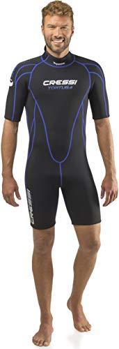 Cressi Men's Tortuga Wetsuit 2.5mm Shorty Neoprenanzug aus High Stretch Neopren für Herren, Schwarz/Blau, XXL/6