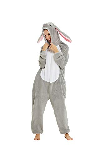 Pigiama Animale Kigurumi Tuta Intera Costume Carnevale Halloween Cosplay, Unisex Adulto-L/Altezza 170-179cm, Massimo 100kg.-Coniglio Grigio/L