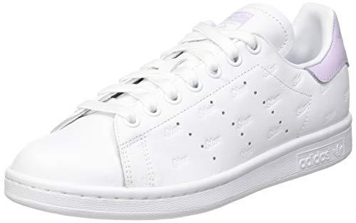 adidas Stan Smith W, Scarpe da Ginnastica Donna, Ftwr White/Purple Tint/Core Black, 40 EU
