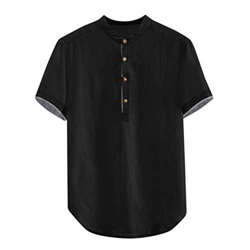 KUKICAT Herrenhemd Kragen Herrenhemd Schwarz Khaki Weiß Herren Sommerknopfoberteil mit Manschetten